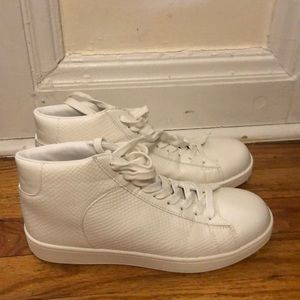 all-white faux-snakeskin/leather high top sneakers